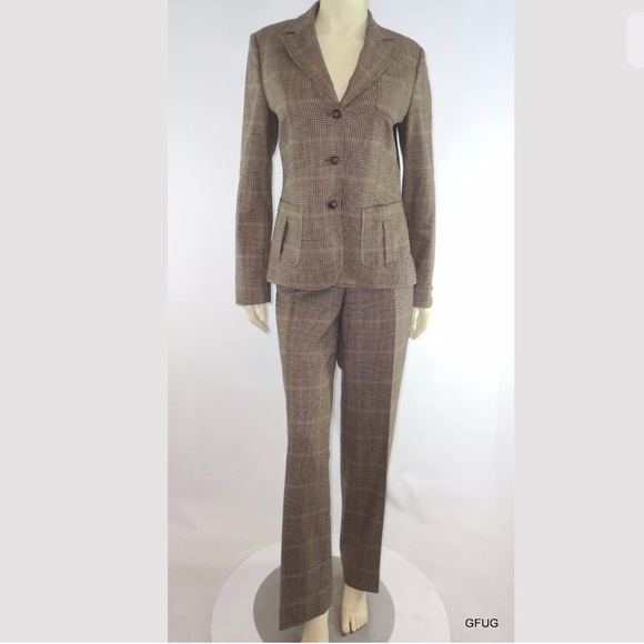 Faconnable Jackets & Blazers - *SOLD*Faconnable Pant Suit GlenPlaid Suede Patches